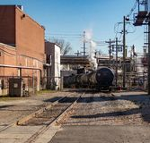 Railroad Tanker Cars. A number of railroad tanker cars at a rail yard in Louisville, KY royalty free stock photo