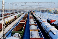 On the railroad. There are cargo trains ready to sending Royalty Free Stock Image
