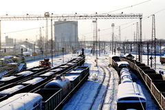 On the railroad. There are freight trains ready to sending Royalty Free Stock Photography