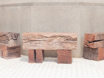 Railroad ties bench Stock Image