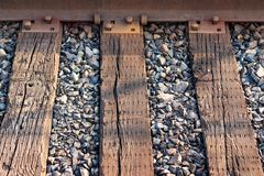 Railroad ties and steel track abstract royalty free stock photo