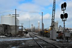 Railroad to Cleveland royalty free stock photo