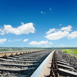 Railroad to horizon under blue sky Royalty Free Stock Photography