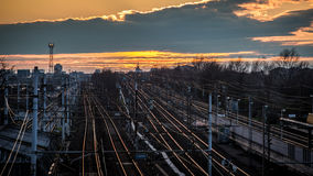 Railroad to Milan city Stock Image