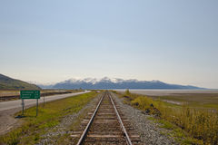 Railroad to mountains Stock Photos