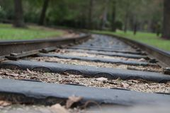 Railroad to nowhere close up stock photography