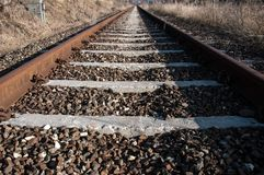 Railroad to nowhere. Lonesome rusty railroad to nowhere royalty free stock photo