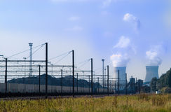 Railroad to nuclear power. Railroad with nuclear power plant on the background Royalty Free Stock Photo