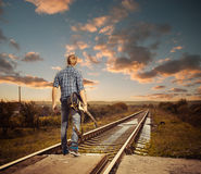 Railroad to sunset Royalty Free Stock Images