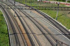 Railroad from the top. Background Royalty Free Stock Photos