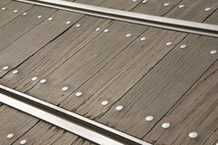 Railroad Track. Metal railroad track on wooden boards Royalty Free Stock Photos