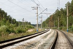 Railroad track. In non-urban landscape Royalty Free Stock Photos
