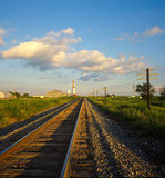 Railroad Track. That extends from close-up to far distance Stock Image