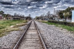 Railroad track. Abandoned area in League city Texas with a train Royalty Free Stock Image