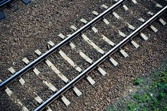 Railroad track from above Royalty Free Stock Photography