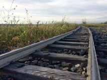 Railroad Track Against Sky Stock Images