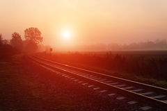 Railroad track during autumn foggy morning Royalty Free Stock Photography
