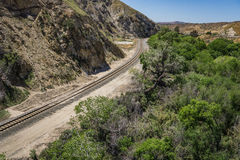 Railroad Track in Canyon Royalty Free Stock Photography