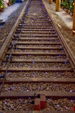 Railroad Track with Christmas Lights stock image
