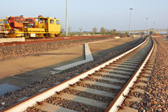 Railroad track construction site Royalty Free Stock Photography