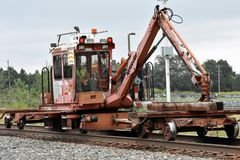 A railroad track tie cranetavels on a main line Stock Photography
