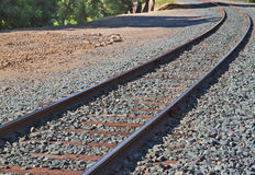 Railroad track curve Royalty Free Stock Images