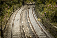 Railroad track curve Stock Photo