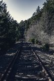 Railroad track in the dark Royalty Free Stock Photos