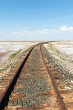 Railroad track and desert Royalty Free Stock Image