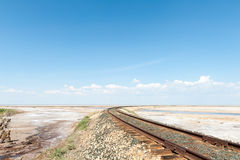 Railroad track in the desert Stock Photography