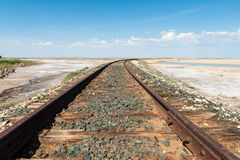 Railroad track in the desert Royalty Free Stock Photos
