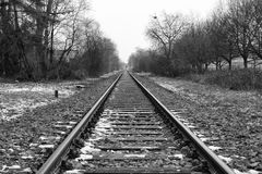 Railroad Track into the Distance BW Stock Image