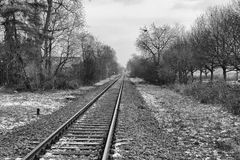Railroad Track into the Distance BW Royalty Free Stock Images
