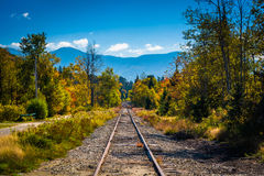Railroad track and distant mountains seen in White Mountain Nati. Onal Forest, New Hampshire Royalty Free Stock Photos