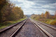 Railroad track, horizontal shot. Railway, two railroad tracks goes parallel, horizontal shot Royalty Free Stock Image