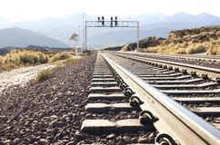 Free Railroad Track In The Desert Royalty Free Stock Photography - 25455277