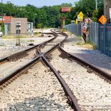 Railroad track junction and curves and switches. Railroad track junction and curves royalty free stock photography