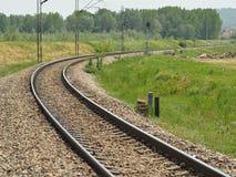 Railroad track. Landscape with Curvy Railroad Track Vanishing on Horizon Stock Photography