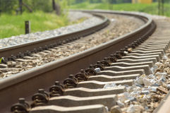 Railroad track. Landscape with Curvy Railroad Track Vanishing on Horizon Stock Photography