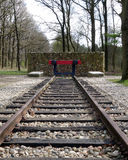 Railroad track memorial for holocaust victims. Camp Westerbork in the east of the Netherlands (Drenthe) was a transit camp in World War 2. Some 102.000 people stock photo