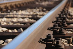 Railroad track. Metal close up stock photos