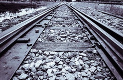 Railroad track monochrome Stock Photos