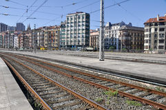 Railroad track near Abando train station, Bilbao Stock Photo