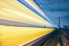 Light trails of passenger train stock photos