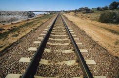 Railroad track in non-urban landscape stock image