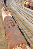 Railroad track with old wagons Royalty Free Stock Photos