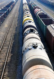 Railroad track with old wagons Royalty Free Stock Image