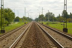 Railroad Track Pair Stock Photo