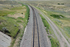 A railroad track in the prairies Royalty Free Stock Image