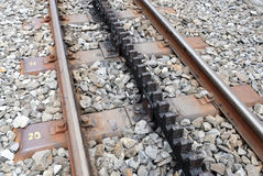 Railroad track. Rack railway track in the middle Royalty Free Stock Image